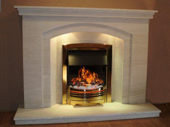 Dovetail Arch Limestone fireplace with lights