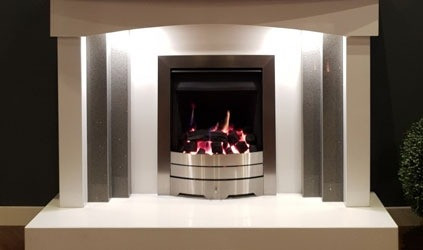 Plateau fireplace in white & quartz grey marble