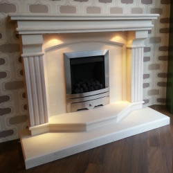 Tiree 54 limestone fireplace