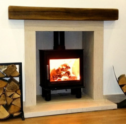 The Wren fireplace with wood look beam & chamber
