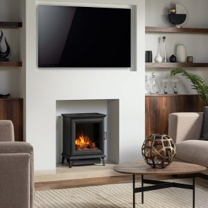 TV Hung Above Stove Woodburner